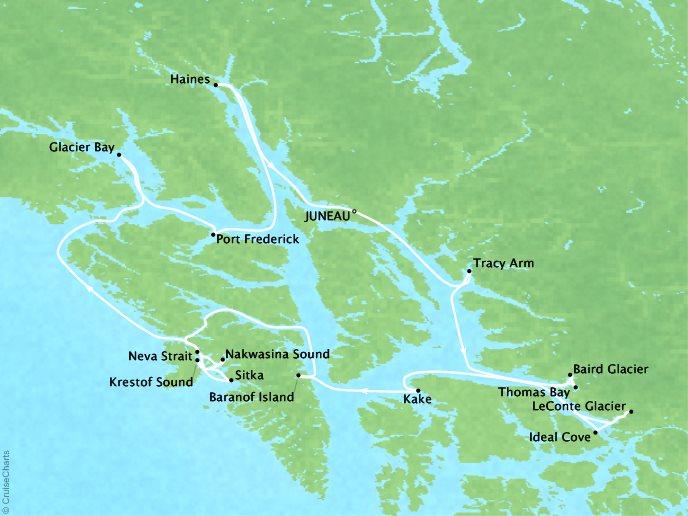 Frederick Sound Alaska Map.Virtuoso Uncruise Adventures Alaska Glacier Cruise Ultimate